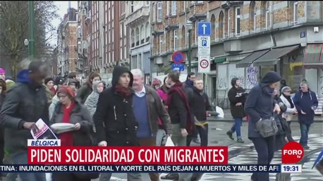 Protestan en Bélgica contra políticas migratorias