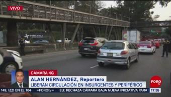 Manifestantes liberan circulación en Insurgentes y Periférico