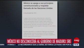 México no participará en desconocimiento del gobierno de Venezuela: SRE