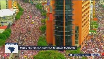 Miles protestan contra Nicolás Maduro en Venezuela