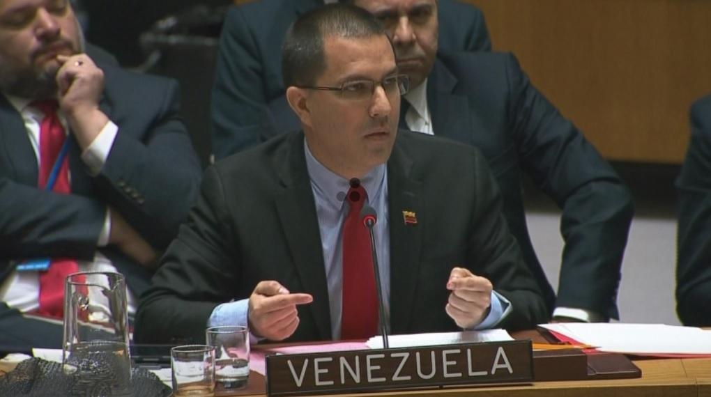 Foto: El ministro de Relaciones Exteriores de Venezuela, Jorge Arreaza, durante una reunión del Consejo de Seguridad de la ONU en Nueva York, 26 de enero de 2019 (Reuters)