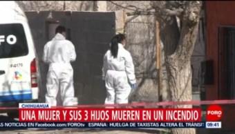 Mueren madre y tres hijos por incendio en Chihuahua