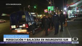 Persecución y balacera en Insurgentes Sur, CDMX