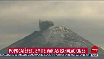 Popocatépetl emite varias exhalaciones y caída de ceniza
