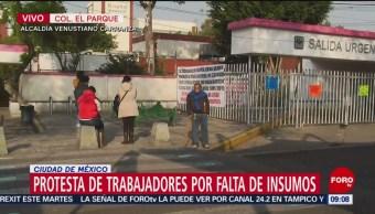 Protestan trabajadores del Hospital Balbuena por falta de insumos