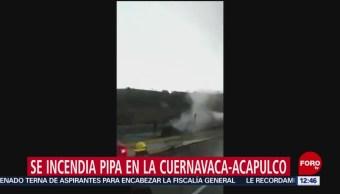 Se incendia pipa en autopista Cuernavaca-Acapulco