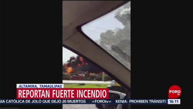 Se registra fuerte incendio en la carretera Tampico