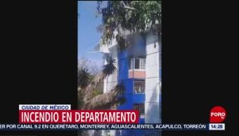 Se registra incendio en un departamento en Iztacalco; hay dos heridos