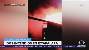 Se registran dos incendios en Iztapalapa, CDMX