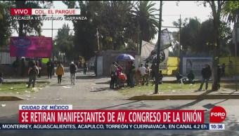 Se retiran manifestantes de avenida Congreso de la Unión, en CDMX