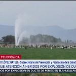 Sigue atención a heridos por explosión de ducto en Hidalgo