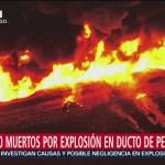 Suman 90 muertos por explosión en ducto en Tlahuelilpan, Hidalgo