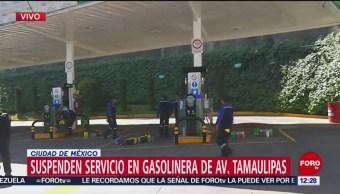 Suspenden servicio en gasolinera de Av. Tamaulipas, en la zona de Santa Fe