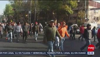 Trabajadores de la CDMX marchan sobre Fray Servando