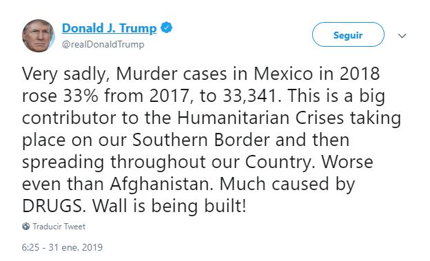 Foto: Imagen de un tuit de Trump sobre la violencia en México. 31 de enero de 2019, Washington, Estados Unidos