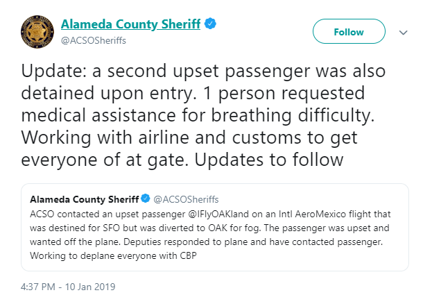 Liberan a pasajeros de Aeromexico tras incidente en Oakland