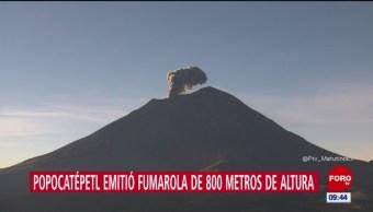 Volcán Popocatépetl lanza fumarola de 800 metros de altura