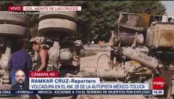 Foto:Vuelca camión en la autopista México-Toluca, 26 enero 2019,