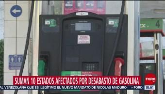 Ya son diez estados los afectados por el desabasto de combustible