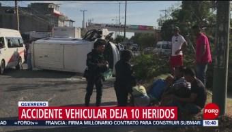 Accidente en Acapulco deja diez lesionados