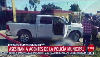 FOTO: Asesinan a dos policías de Los Reyes de Juárez, Puebla, 10 febrero 2019