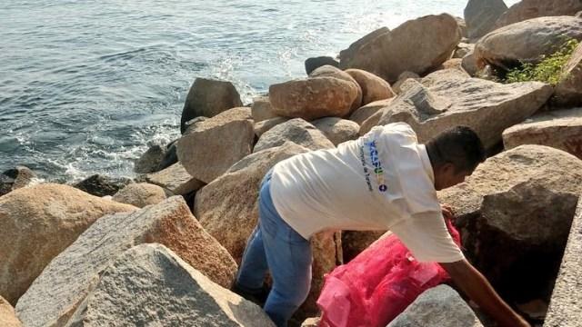 Foto: Autoridades realizan operativo de limpieza en la zona de piedras de Playa Tlacopanocha, Acapulco, febrero 5 de 2019 (Twitter: @Sectur_Acapulco)