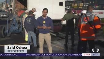Caos vial por fuga de agua en La Viga y Ermita Iztapalapa