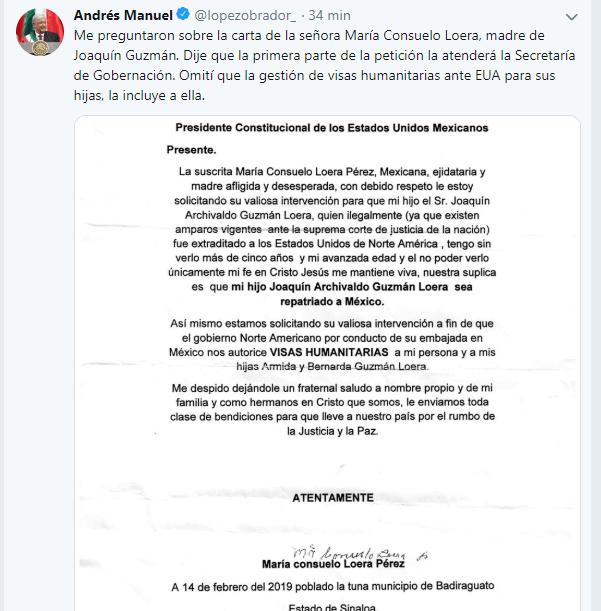 Foto: arta de la mamá de 'El Chapo' Guzmán a López Obrador, 22 de febrero de 2019