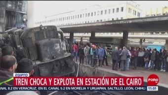 Choque de tren provoca incendio en Egipto