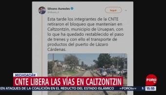 Foto: CNTE libera vías en Caltzontzin, Michoacán