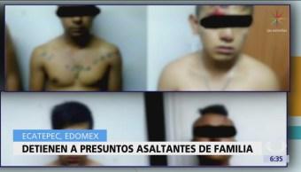 Detienen a 4 presuntos asaltantes de familia en Ecatepec