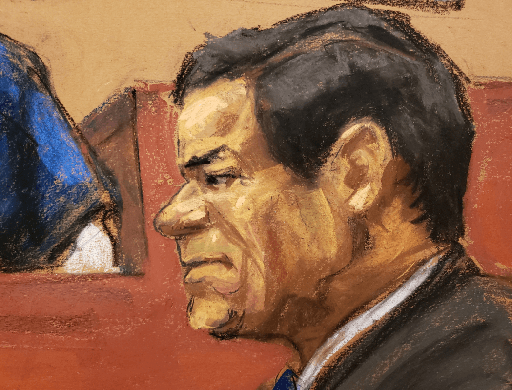 Foto: Dibujo de 'El Chapo' Guzmán durante juicio, 24 de enero de 2019, Nueva York
