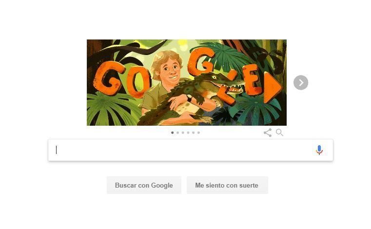 Foto: El buscador internacional Google realiza un homenaje al cazador de cocodrilos australiano Steve Irwin, 22 febrero 2019
