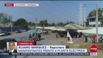 Foto: Ejidatarios protestan frente a termoeléctrica en Ecatepec