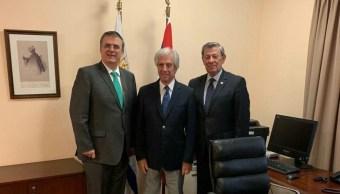Foto: Marcelo Ebrard se reúne con canciller y presidente de Uruguay.