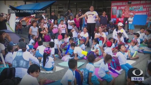 Foto: Exigen reparar escuelas en Chiapas tras sismo de 2017