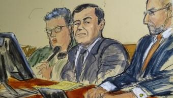 """Foto: Boceto de Joaquín """"El Chapo"""" Guzmán durante su juicio en una corte de Nueva York, EEUU, del 30 de enero del 2019"""
