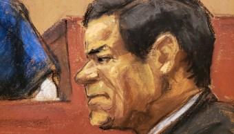 """Foto: Boceto de Joaquín """"El Chapo Guzmán"""" durante su juicio en una corte de Nueva York, EEUU, del 24 de enero del 2019"""