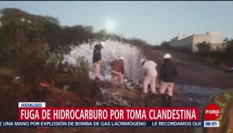 FOTO: Fuga de hidrocarburo por toma clandestina en Cuautepec, Hidalgo, 10 febrero 2019