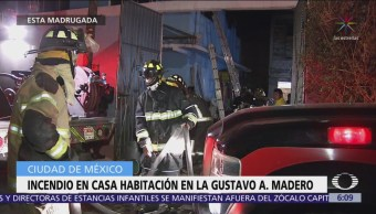 Incendio en casa habitación en la Gustavo A. Madero, CDMX