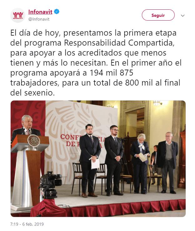 Foto: Tuit del Infonavit sobre programa Responsabilidad Compartida. 6 de febrero 2019, Ciudad de México