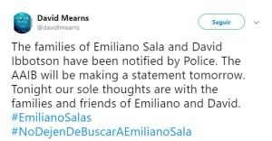 Foto: Los restos del avión que llevaba Emiliano Sala y pilotado por David Ibbotson fueron ubicados, 3 de febrero de 2019 (Twitter: @davidlmearns)