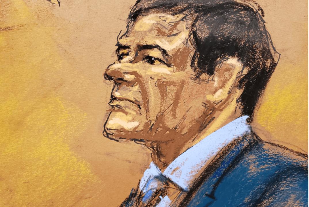 Foto: Dibujo de Joaquín El Chapo Guzmán durante su juicio en Nueva York, 31 Enero 2019, Estados Unidos