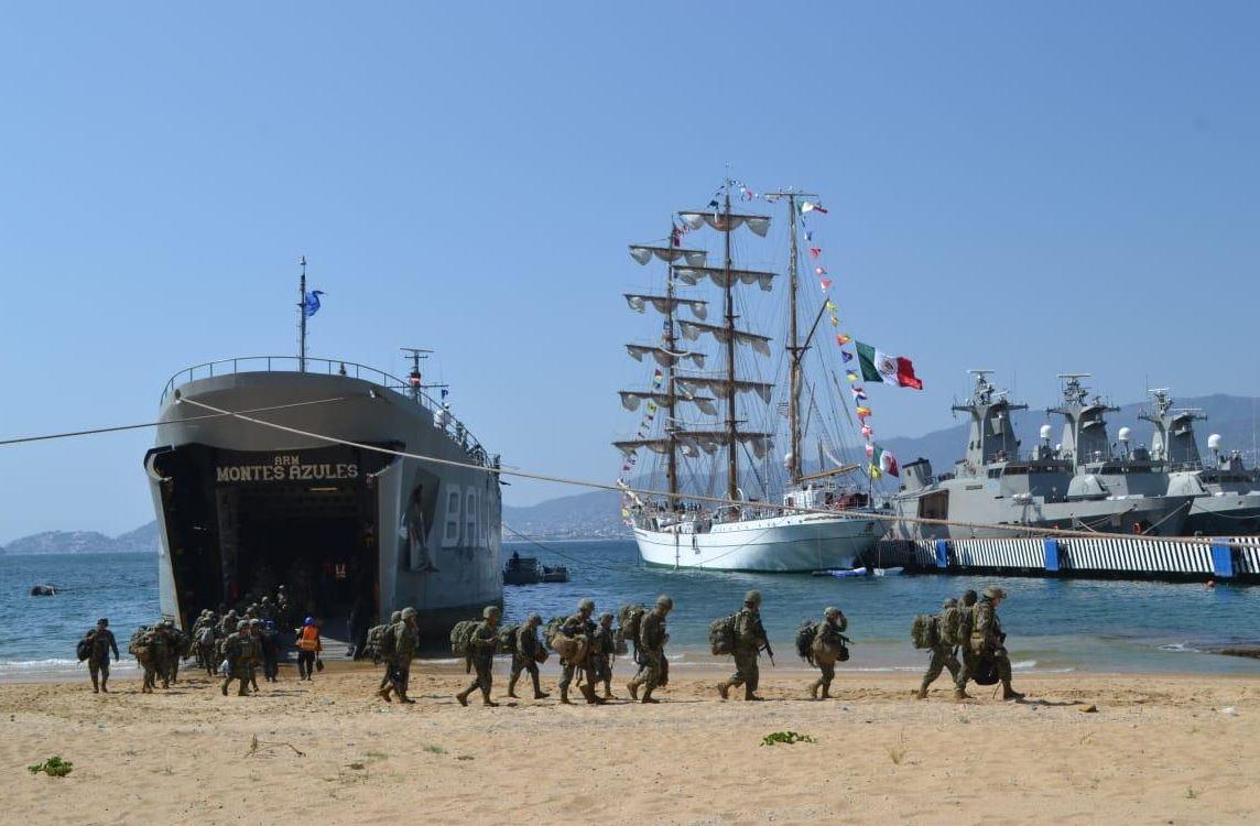 Foto: Vía marítima, arribaron 156 elementos operativos de infantería de Marina, así como nueve vehículos tácticos tipo pick up de alta velocidad, el 16 de febrero de 2019