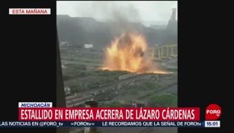 Foto: Movilización en Michoacán por explosión en acerera