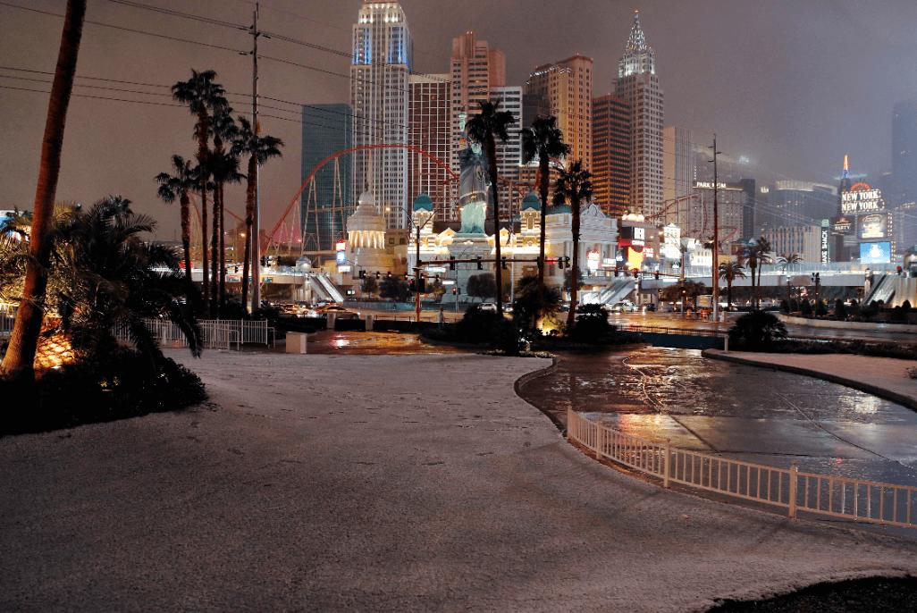 FOTO Nieve cae en Las Vegas, por primera vez en una década AP 21 febrero 2019