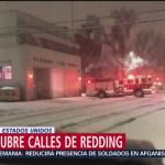 Foto: Nieve cubre las calles de Redding, en California