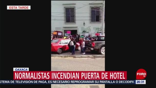 Foto: Normalistas Incendian Puerta Hotel Oaxaca 01 de Febrero 2019