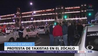 Protestas de taxistas en el Zócalo de la CDMX