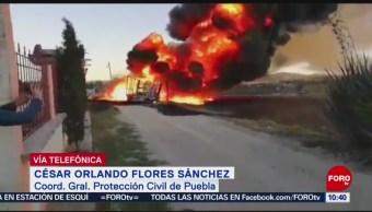 Puebla: Descartan riesgos para pobladores por incendio en toma clandestina